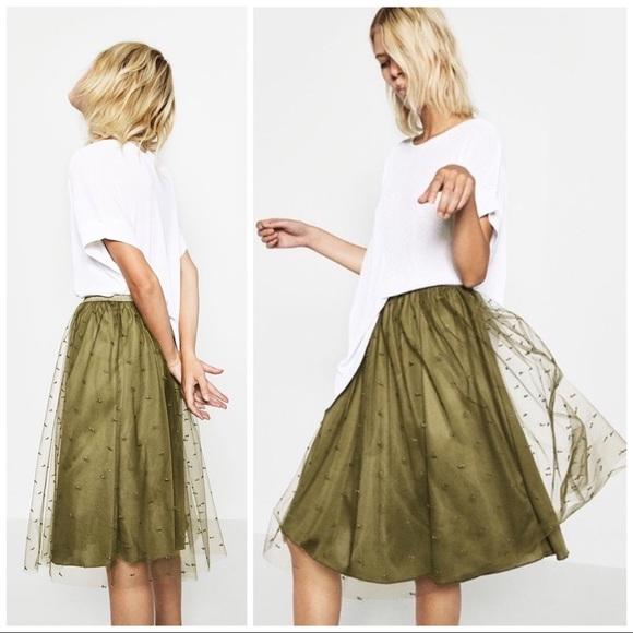 94ea310707 Zara Green Tulle Skirt. M_5c6d8cad534ef9a83f8758ef